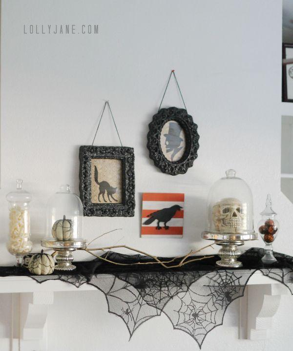 vintage Halloween mantel @Lauren Jane Jane