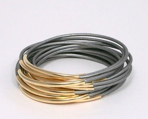 Leather/gold stacking bracelets
