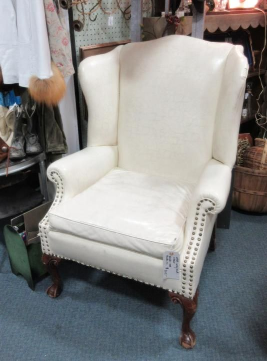 Vintage white wingback chair from Vendor 1018 in booth 17. Priced at  $225.00. ~ - 136 Best Antique & Vintage Furniture Images On Pinterest Denver
