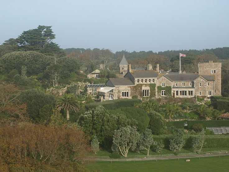 Tresco Abbey from the air, Isles of Scilly