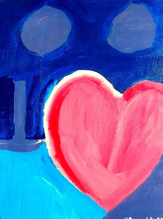 Half-Hearted signed print by the artist 4 x 6 Art Card #Abstract