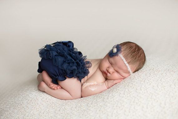 Blue Chiffon Diaper Cover Newborn Photography Props with Matching Headband 0-3 Months - LOVE the navy blue for a little girl!