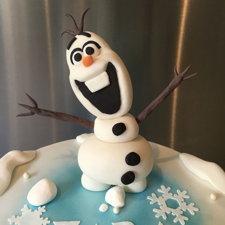 Olaf fondant and gumpaste figurine.