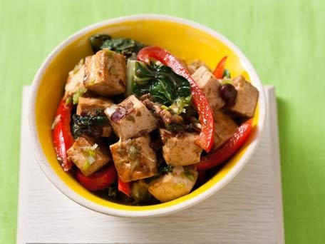 Bok choy with Red Peppers and Tofu