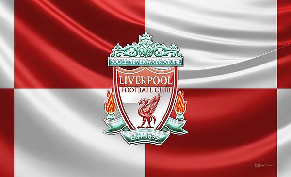 Liverpool F.C. - 3D Badge over Flag fine art print by Serge Averbukh via FineArt America
