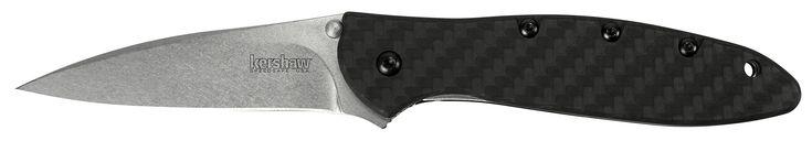 """Kershaw Leek Carbon Fiber (1660CF); Pocket Knife with 3"""" Stonewashed CPM 154 Steel Blade, Black Carbon Fiber Handle, SpeedSafe Assisted Opening, Frame Lock, Tip Lock and Reversible Pocketclip; 2.3 OZ."""