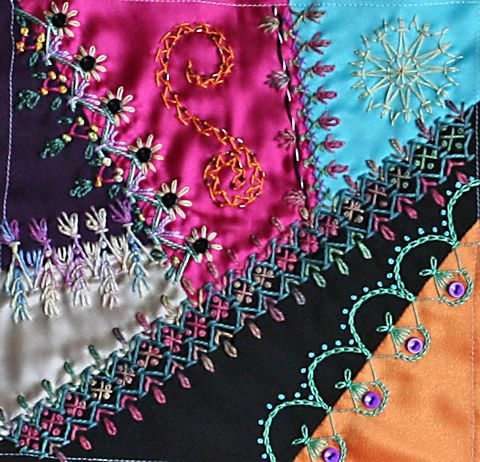 crazy quilt stitches tutorial - Google Search