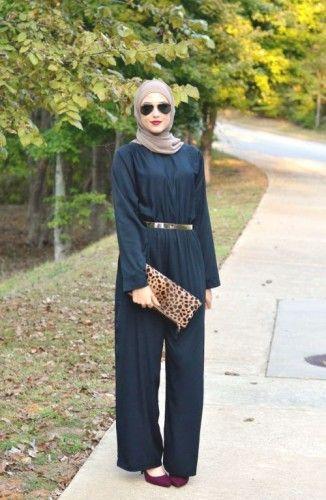 jumpsuit hijab look, Elegant hijab street style http://www.justtrendygirls.com/elegant-hijab-street-styles/