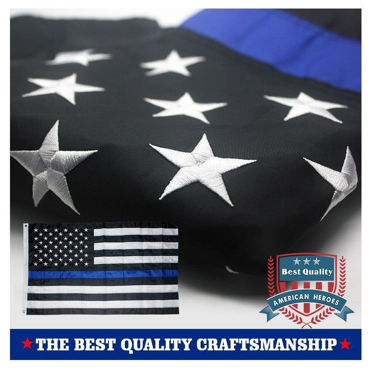 Thin Blue Line American Police Flag 3x5- Embroidered Stars and Sewn Stripes with #VSVO