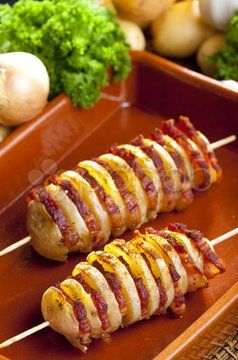 Potato Skewers With Bacon Stock Photo