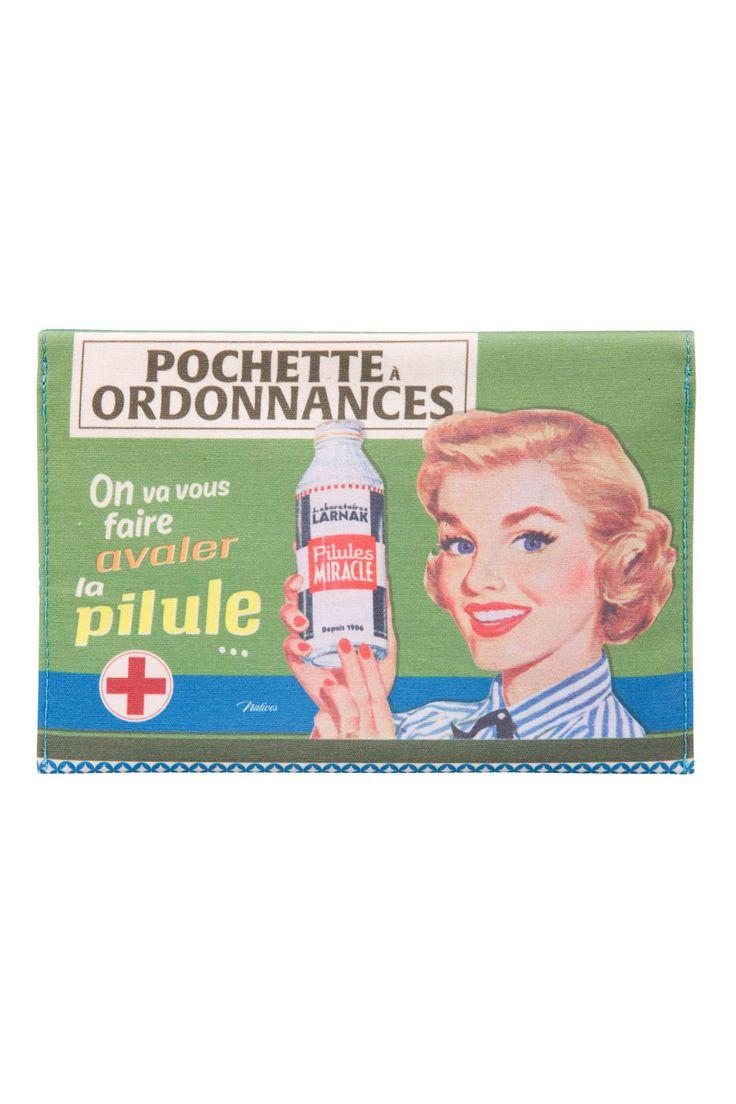 Vente NATIVES / 23848 / Papeterie / Pochette à ordonnance Avaler la pilule - Vert