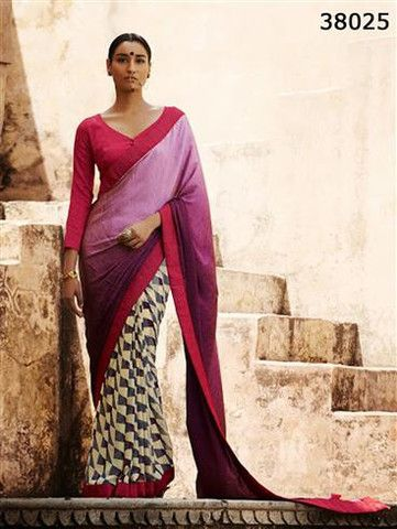 Silk Route 38025 Purple and CornellRed Satin Georgette Saree