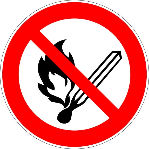 Prohibition Signs and Symbols: No Open Flames Sign