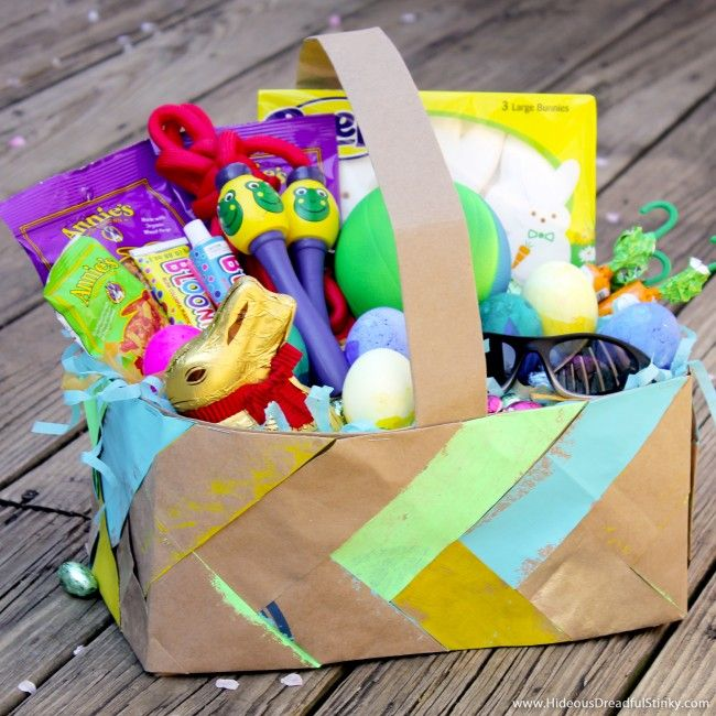 110 best diy easter images on pinterest easter recipes easter grocery bag easter basket for boys negle