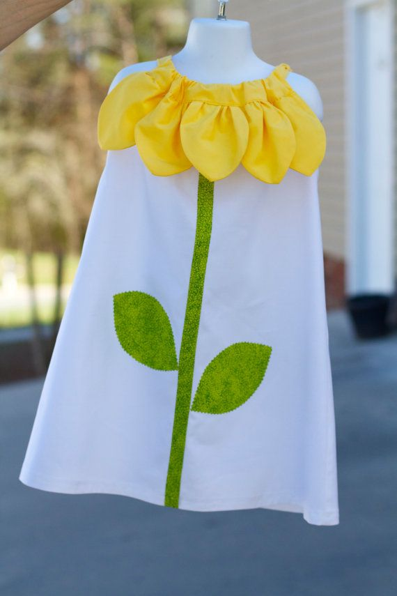 No patrón ni tuto, sólo inspiración Sunflower Pillow Case Dress by MakeItYours00 on Etsy