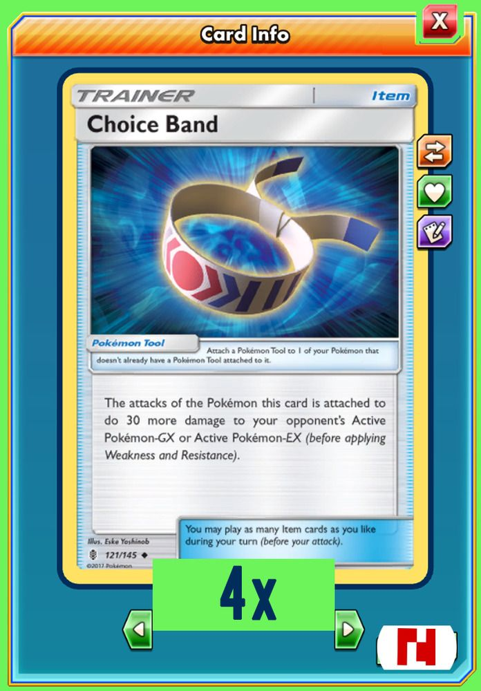 Trainer Playset 4x Choice Band Pokemon TCG ONLINE ( PTCGO digital card )
