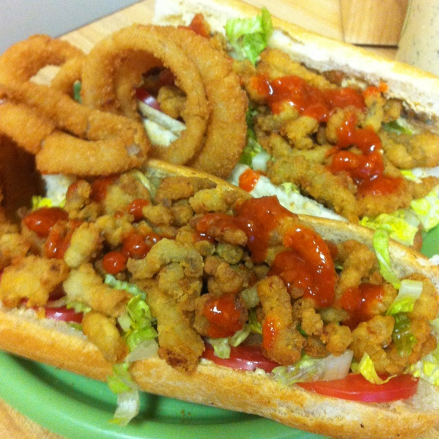 Catfish Poboys! Remoulade,lettuce,tomato and catfish curls on a French baguette with blairs hot sauce!: Catfish Poboy, Blair Hot, Big Easy, Remoulade Lettuce Tomatoes, French Baguette, Catfish Curls, Hot Sauces