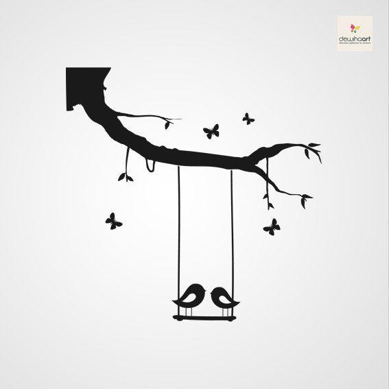 Vogels met tak