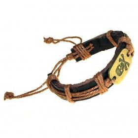 Macho-Man Brass Cuffs - Crossbones | Hip Angels Crossbones wholesale Macho Man Bracelets made from leather and metal charms with great designs.    This range of bracelets comes in distressed tan brown leather with rustic steel detailing. Complete with an engraved charm and distinctive barrel detailing.  #Leather_Bracelets #Scarves_Wholesaler #Charm_Leather_Bracelets