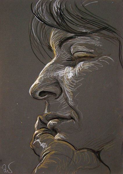 Kika Eyes Closed, by Fred Hatt fredhatt-2002 : great style using multicolor swirling lines on toned paper.