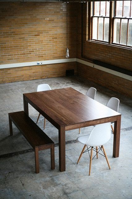 Solid Walnut Parsons Dining Table Customizable With