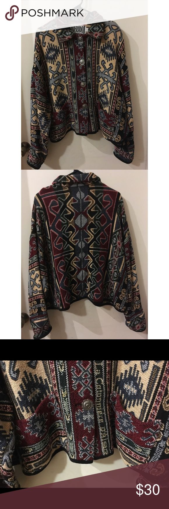 Vintage Tribal Poncho This Vintage button down by Silverado is amazing! So warm and comfy - perfect for any occasion! No wear/no tear. The size is Small that is Vintage sizing - would definitely fit size M/L! 100% cotton! Silverado Jackets & Coats