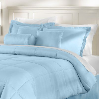 Wayfair Basics™ Wayfair Basics Reversible Comforter Set Size: Twin Comforter + 5 Additional Pieces, Color: Light Blue