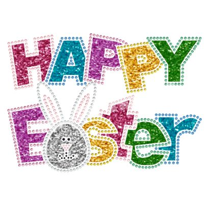Happy Easter Wholesale Rhinestone Iron On Transfers Decal