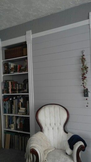 Painted Plank Wall. Behr Silver Bullet. Pretty!