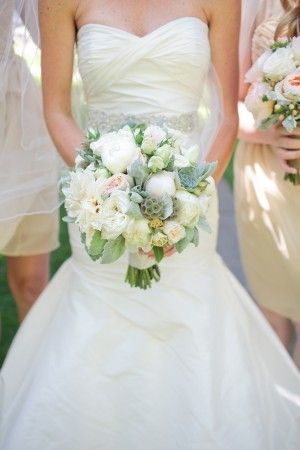 Peach Dalia Peony and Cabbage Rose Bouquet