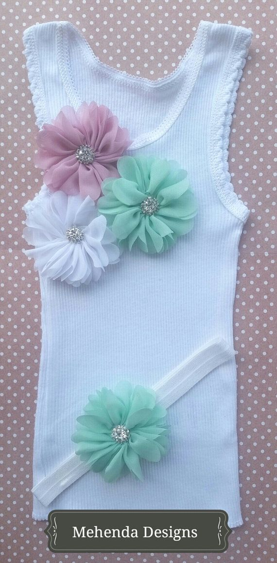 Baby girl embellished singlet and headband by MehendaDesigns