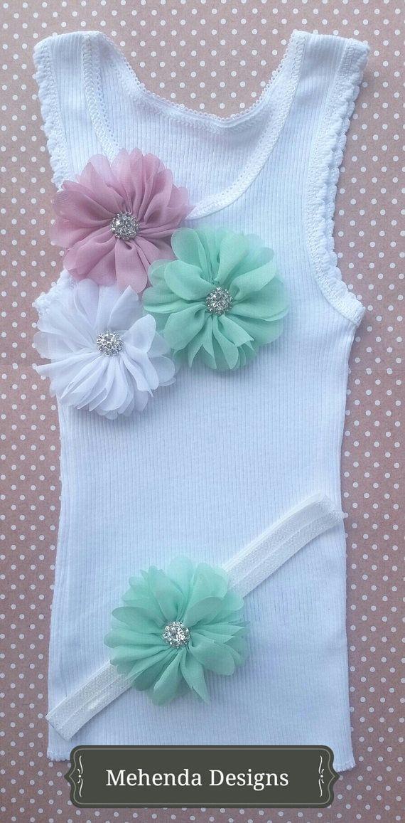 Baby girl embellished singlet and headband by MehendaDesigns