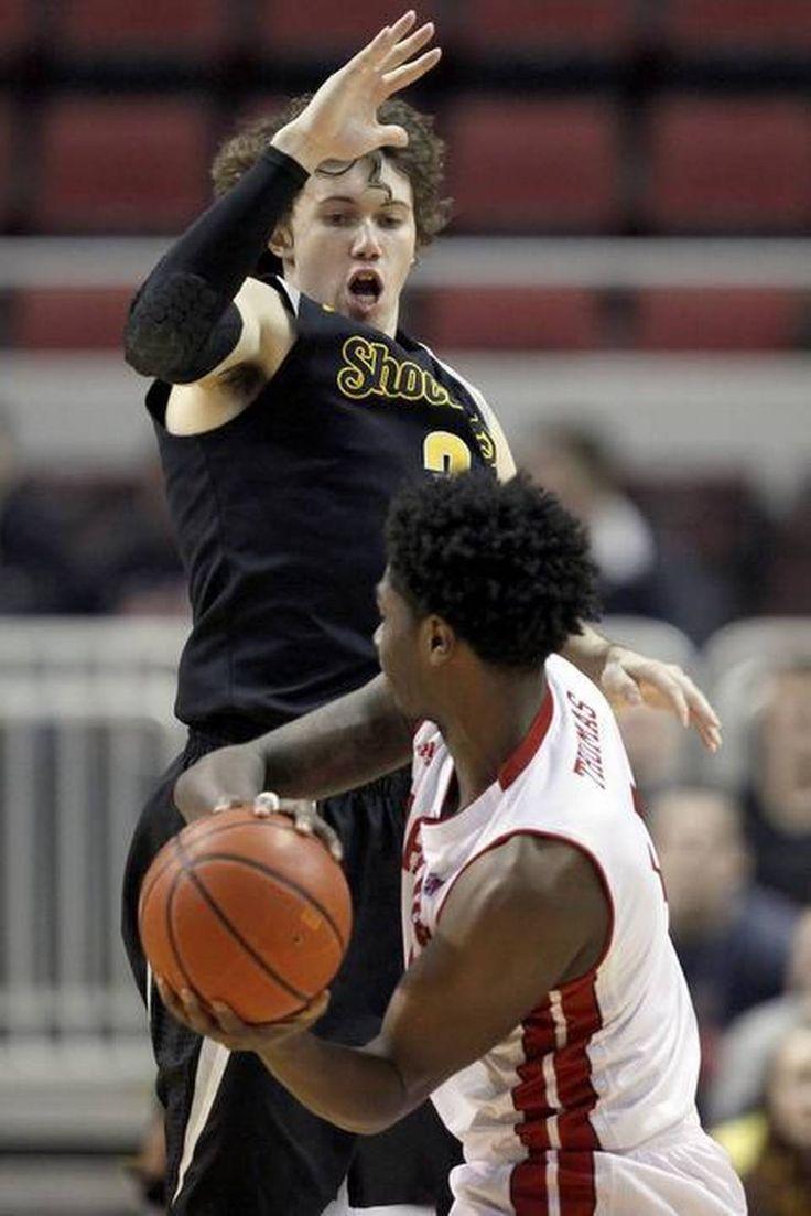 Wichita state guard evan wessel top defends against bradley forward