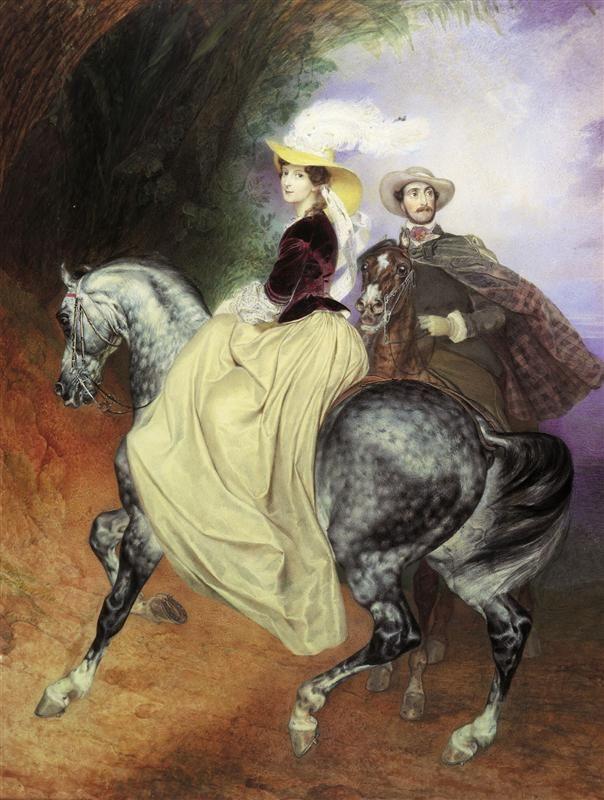 Всадники (Портрет И.Мюссара и Э.Мюссар). 1849    Карл  Павлович  Брюллов  (1799—1852)