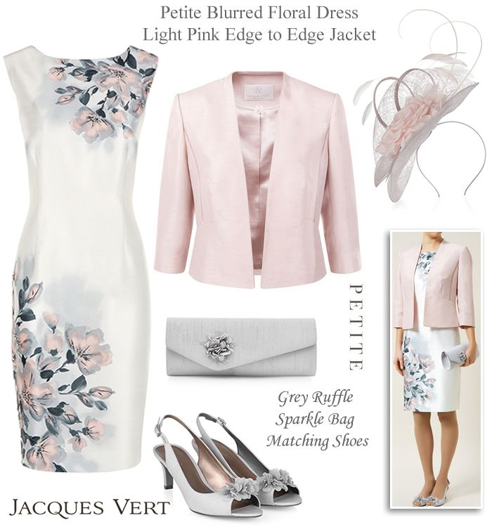 Jacques Vert petite Mother of the Bride outfits in pink and grey matching wedding shoes clutch bag and fascinator