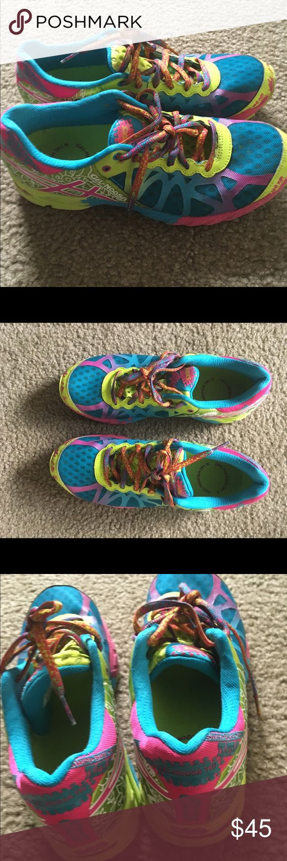 Asics gel noosa tri 9 neon running shoes sneakers The Asics Gel-Noosa Tri 9 trainer is specially engineered for triathlons and Ironman competition. Designed for breathability while still keeping your feet dry and comfortable with elastic laces for quick transitions.  The Asics Gel-Noosa Tri 9 is designed with an open mesh upper for breathability so your feet stay dry and comfortable. Plus the seamless upper means you can wear them barefoot at the end of your event. Worn by a non smoker size…