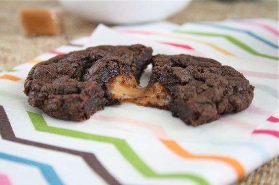 Sea Salt and Caramel Filled Brownie Cookies