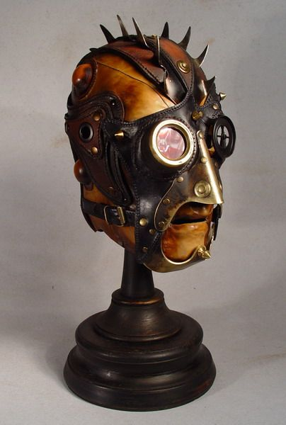 This Steampunk gas-mask styled hood, custom made by the Ukraine-based Bob Basset art studio