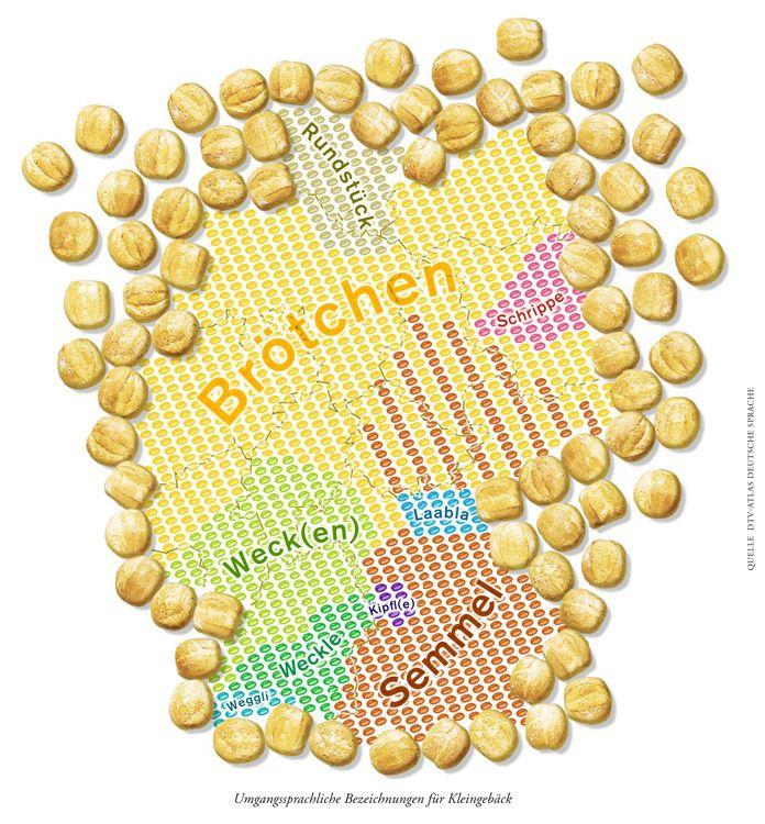 Deutschlandkarte: Brötchen? Oder Wecken, Schrippen, Semmel?  Wo sagt man was?