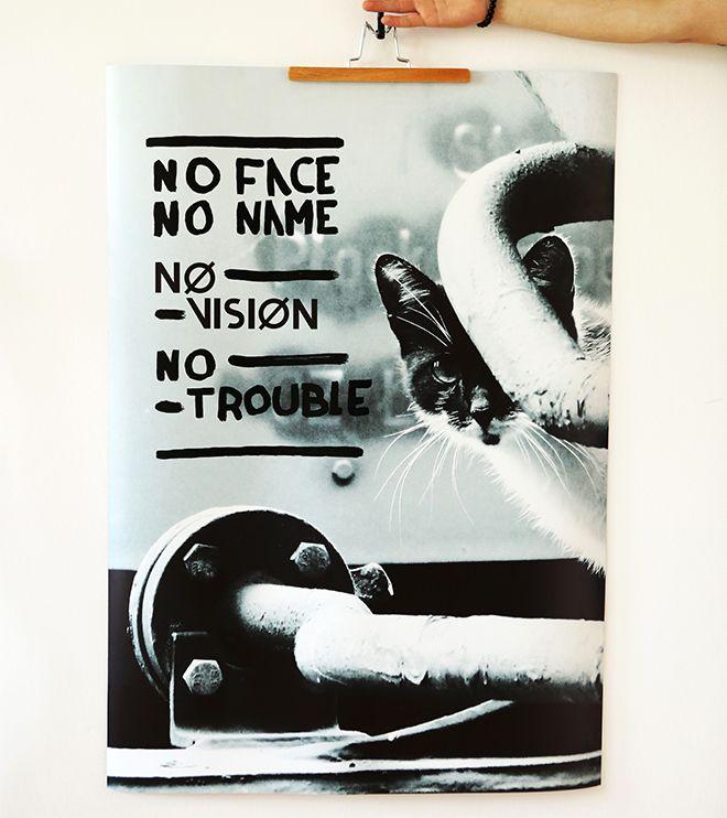 Plakat - NO TROUBLE - print + paint 70x100