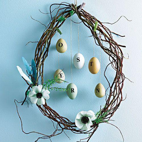Eier-Kranz aus Korkenzieherweide - und Ostern kann kommen