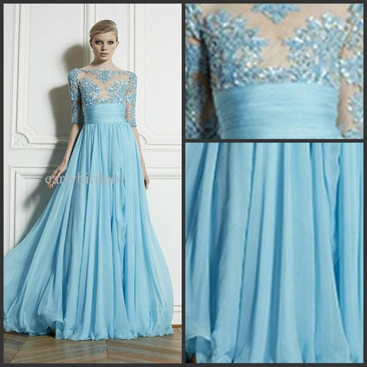 in a different color...Wholesale Evening Dress - Buy 2014 Zuhair Murad Sexy Sheer Bateau Wedding Evening Dresses New Half Sleeve Appliques Lace A-Line Formal Dress Chiffon Long Prom Dress Gowns, $136.45   DHgate
