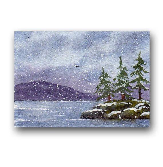 ACEO watercolor SNOW original painting SFA miniature