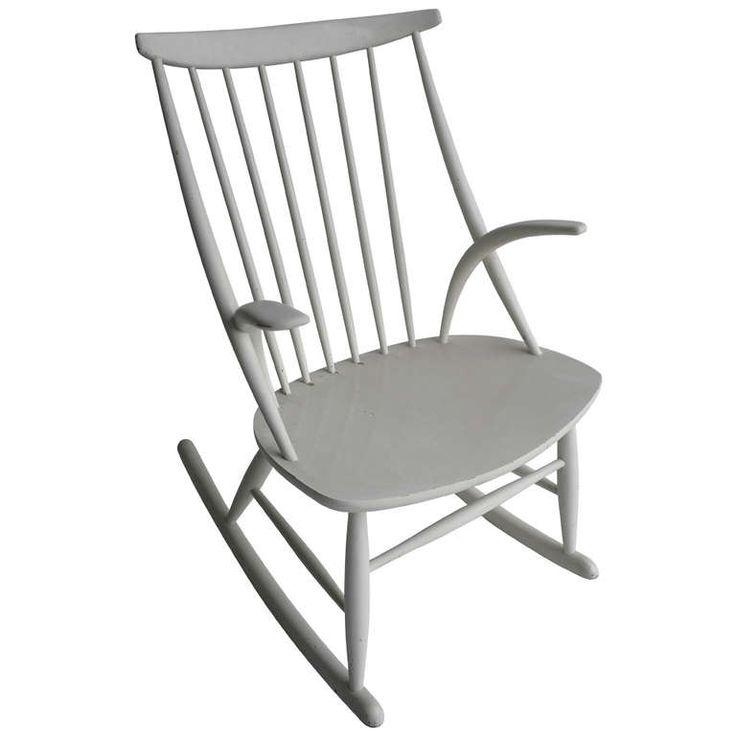 Illum Wikkelso White Rocking Chair, Denmark 1958