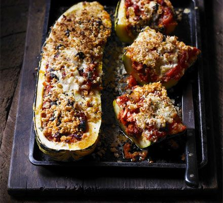 Spanish stuffed marrow (could use the glut of giant courgettes from the allotment for this) : recipe from BBC Good Food http://www.bbcgoodfood.com/recipes/2493639/spanish-stuffed-marrow