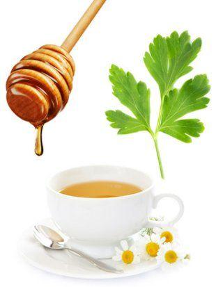 honey, salt, parsley, chamomile tea