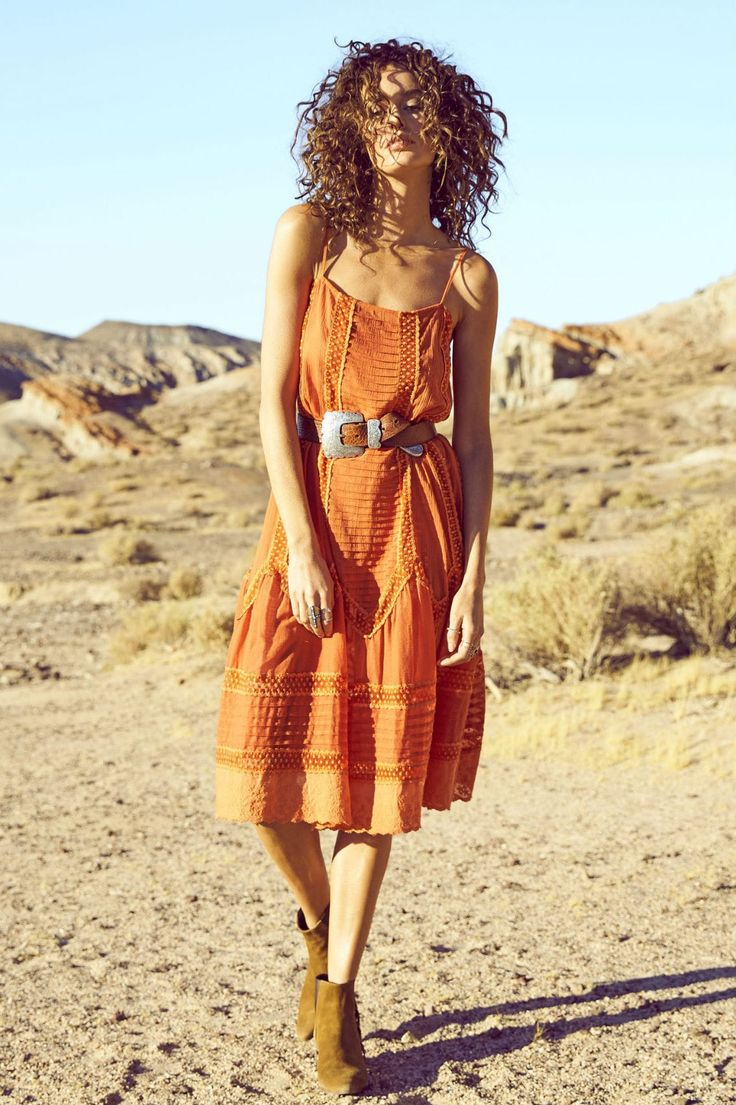 Auguste The Label - Old Days Day Dress In Burnt Orange