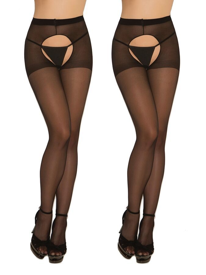 09654e151a4 Sheer Black Crotchless Pantyhose Hosiery Stockings Tights- 2 pack  731717908050 eBay Pantyhose Hosiery Crotchless
