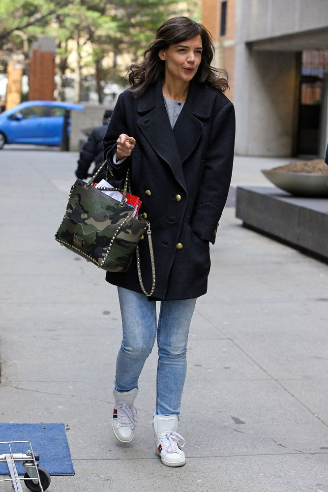 Katie Holmes Carries Camo Valentino on the Set of Her New Show