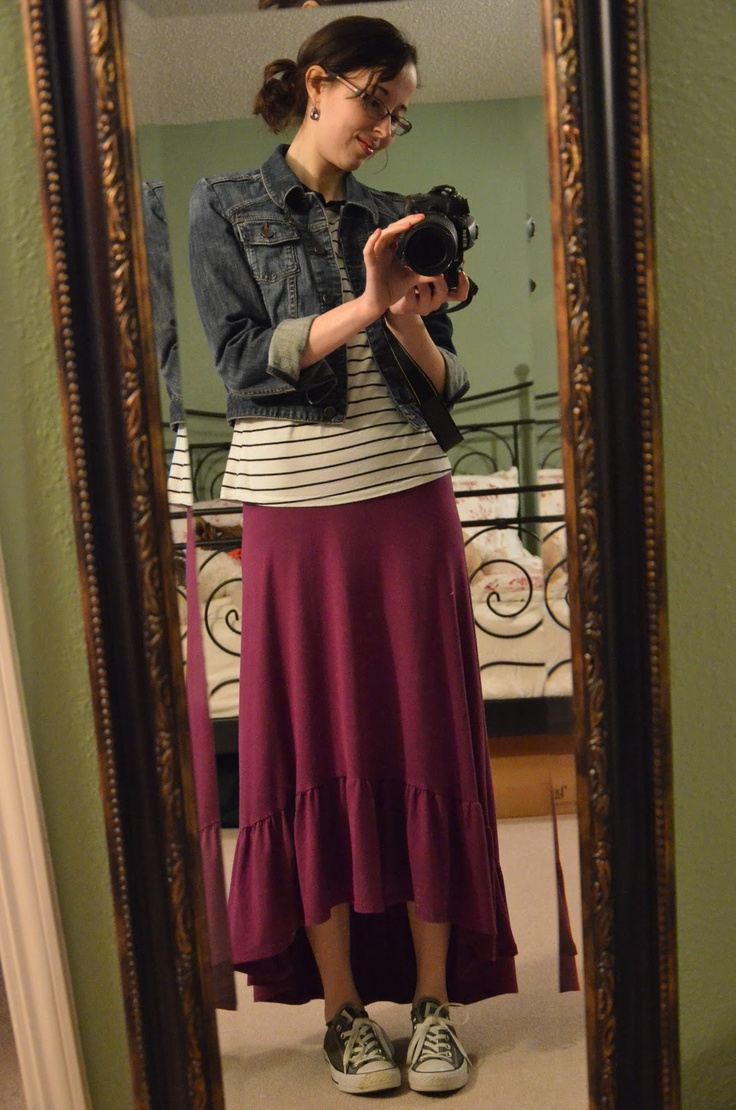 Basically looks like this dress denim jacket converse example - Hi Low Maxi Skirt Striped Tee Jean Jacket Converse My All